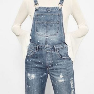 Zara   Talk to the Hand Distressed Overalls
